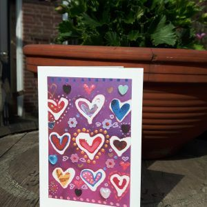 Purple Aceo Hearts Greeting Card - print from original art work1