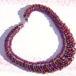 purple and green fringe necklace