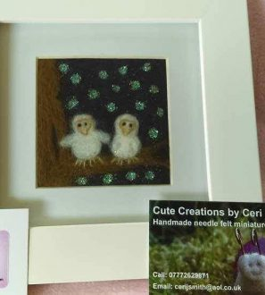 Needlefelt Miniature Baby Owls Picture