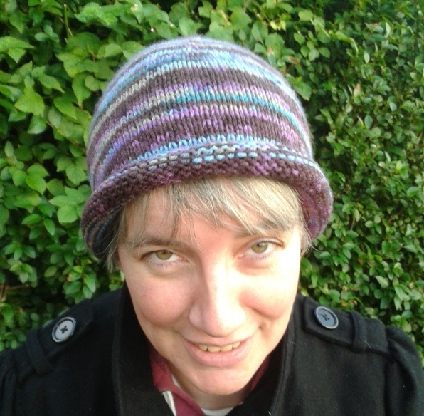 Handknitted rolled brim beanie hat.  4672deadbca