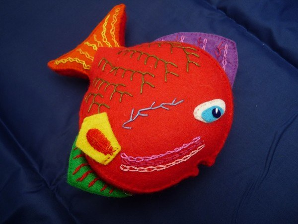 Handmade Felt Fiona The Fish Colourful Embroidered Soft