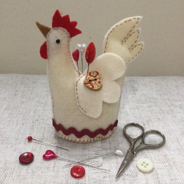 Chicken Pincushion Handmade Pincushion Felt Chicken