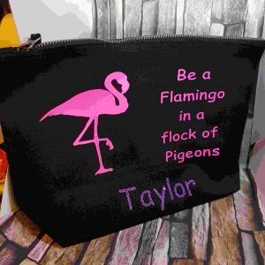 Personalised 'be a flamingo' makeup bag