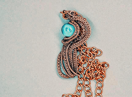 Copper wire wrapped blue bubble bead necklace