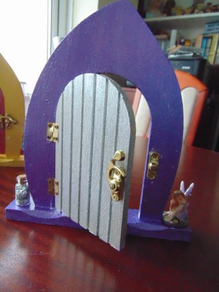 Beautiful decorated wooden fairy door purple silver for Fairy doors for sale