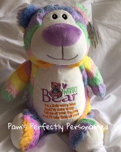 Cubby Teddy Bear personalised embroidered rainbow