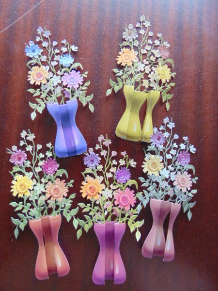 Conscious Crafties & Card Making Die Cuts 3d Flowers in Vases CHERRY 5 colours 1 of each