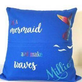 Personalised Mermaid book cushion