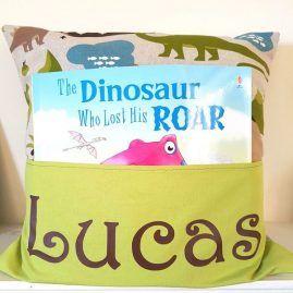 boys gifts Personalised dinosaur book cushion