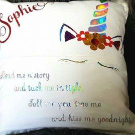 Personalised unicorn book cushion 2