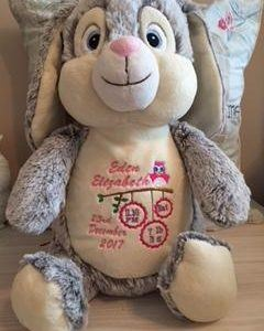 Personalised Grey or Brown Rabbit Cubby Bear Cuddly Toy
