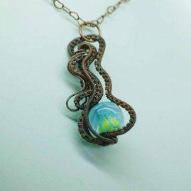 Copper wire curl dahlia pendant 3