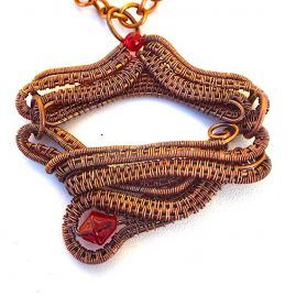 Copper wire wrapped double linked red glass pendant 2