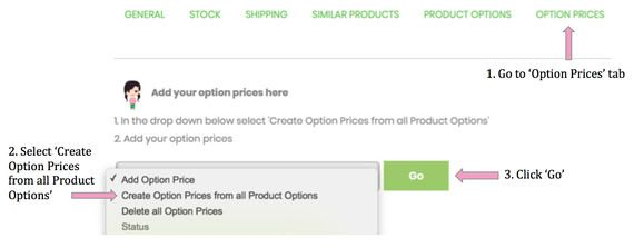 Product Price Option Tab