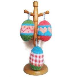 easter eggs knitted on tree