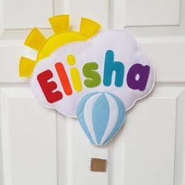 Cloud name door sign