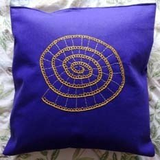 Purple and Gold Embroidered Ammonite Felt Cushion