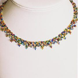 Rainbow seedbead necklace 2
