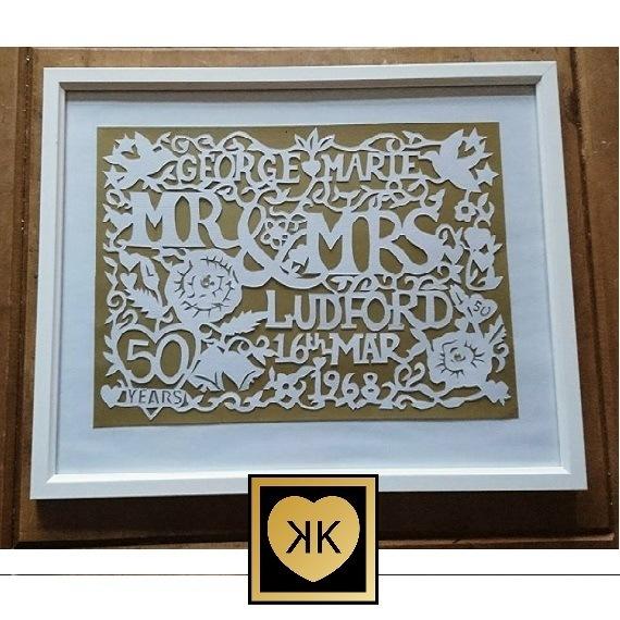 Wedding / Anniversary, Personalised Paper Cut Design