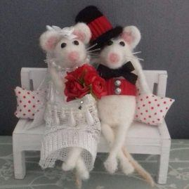 Needle felted wedding mice
