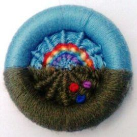 Rainbow Dorset button brooch