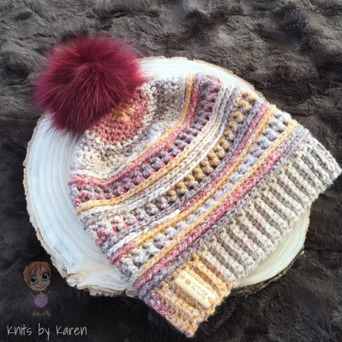 2ae7c18478d Teens Ladies Crocheted Slouchy Hat with Faux Fur Pom Pom (105 ...