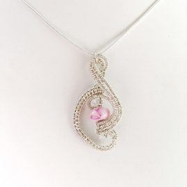Stunning sterling silver pendant, pink handmade glass bead, tiny herkimer diamond accent beads 1