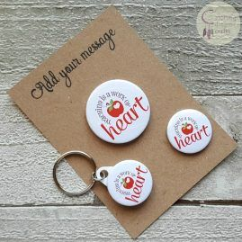 Teacher Gift Set – work of heart – Badge, Keyring and Magnet