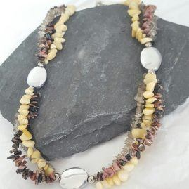 Triple Strand Chip Bead Necklace