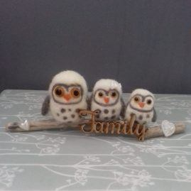 Owl family on a branch – Needle felted