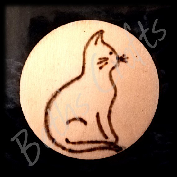 Simple Cat Design Wood Burned Fridge Magnet Lover Crazy Lady