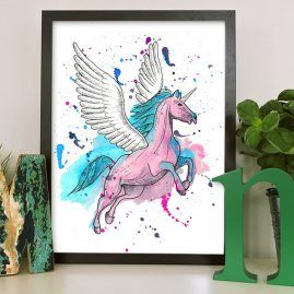 pink unicorn art