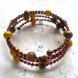 Autumn Toned Yellow And Copper Wrap Around Style Bracelet