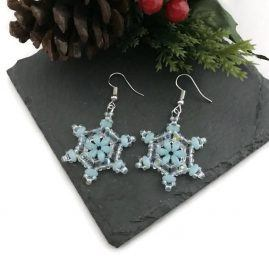 Blue and Crystal Snowflake Earrings 3