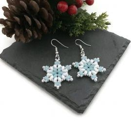 Blue and White Snowflake Earrings 3