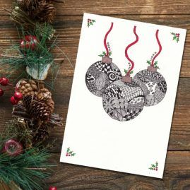 Zentangle Inspired Baubles Christmas Card