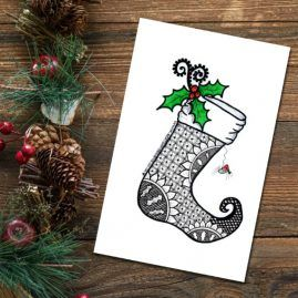 Zentangle Inspired Doodle Art Xmas Stocking Christmas Card