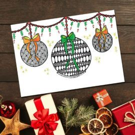Zentangle Inspired Doodle Baubles Christmas Card