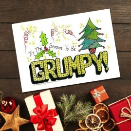 Zentangle Inspired Season To Be Grumpy Comical Doodle Christmas Card