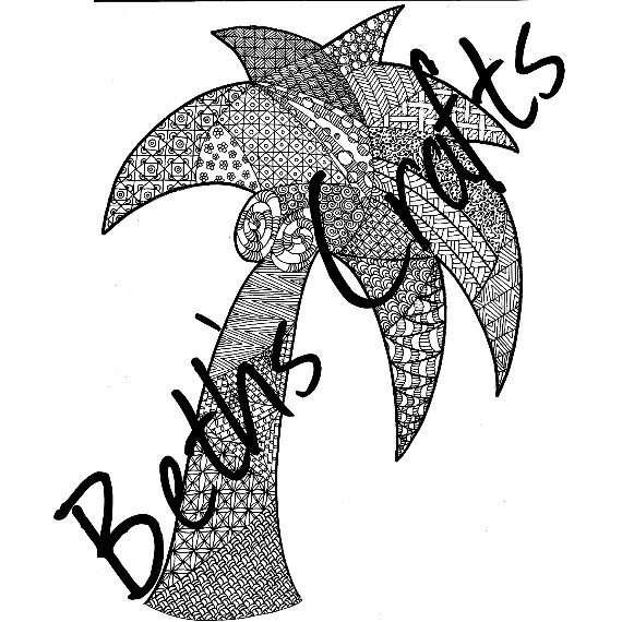 Palm Tree Design Adult Colouring Page, Doodle Art, PDF/JPG ZIA
