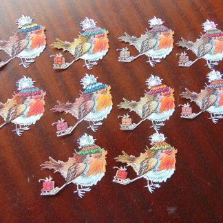Christmas card die cut robin