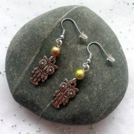Handcrafted Handmade Cute Wise Owl Dangly Drop Earrings 1a