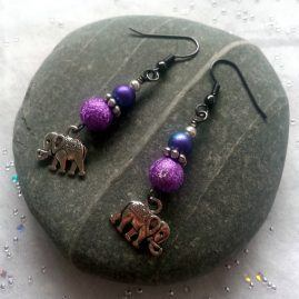 Handmade Cute Colourful Elephant Dangly Drop Earrings 1a