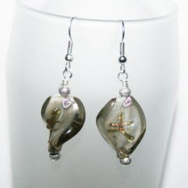 Handmade Glass Twist Dangly Drop Earrings Choice Of Colours Grey