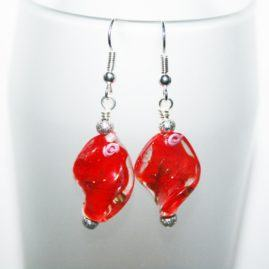 Handmade Glass Twist Dangly Drop Earrings Choice Of Colours Red