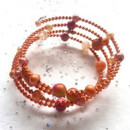 Handmade Orange And Pink Beaded Wirework Wrap Around Style Bracelet 1a