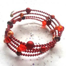 Handmade Red And Orange Beaded Wirework Wrap Around Style Bracelet 1a