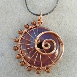 Handmade Wirework Ammonite Swirl Pendant In Choice Two Colours 1