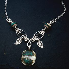 Handmade Wirework And Fused Glass Leaf Charm Necklace In Two Designs 1