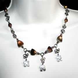 Handmade Wirework Jigsaw Puzzle Piece Necklace In Three Colours Copper
